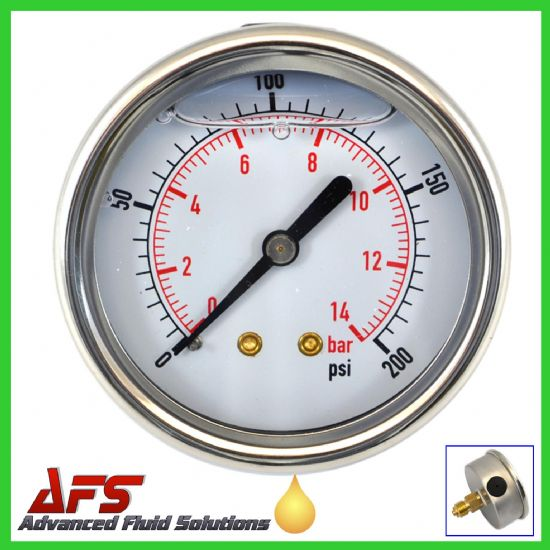 Rear Entry Glycerine Filled Pressure Gauges PSI & BAR